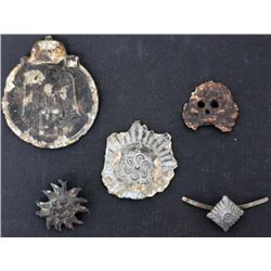 Group of 5) Mini Medals and Pins WWII Nazi German