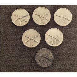 SIX ORIGINAL WWI DOUGHBOY COLLAS BRASS-WITH SCREW BACKS