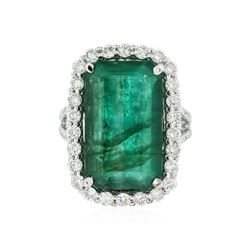 14KT White Gold 10.31 ctw Emerald and Diamond Ring
