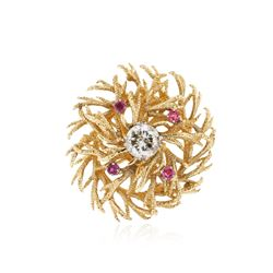 14KT Yellow Gold 1.74 ctw Diamond and Ruby Brooch