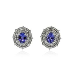 14KT White Gold 2.56 ctw Tanzanite and Diamond Earrings