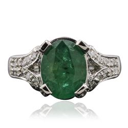 14KT White Gold 3.01 ctw Emerald and Diamond Ring