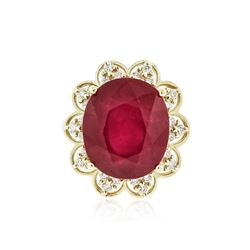 14KT Yellow Gold 14.39 ctw Ruby and Diamond Ring
