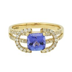 14KT Yellow Gold 1.41 ctw Tanzanite and Diamond Ring