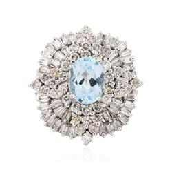 14KT White Gold 1.74 ctw Aquamarine and Diamond Ring