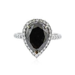 14KT White Gold 4.90 ctw Black Diamond Ring