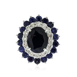 14KT White Gold 8.00 ctw Sapphire and Diamond Ring