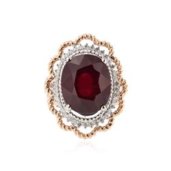 14KT Two-Tone Gold 16.90 ctw Ruby and Diamond Ring