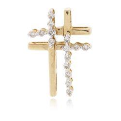 14KT Yellow Gold 0.25 ctw Diamond Cross Pendant