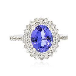 14KT White Gold 1.92 ctw Tanzanite and Diamond Ring
