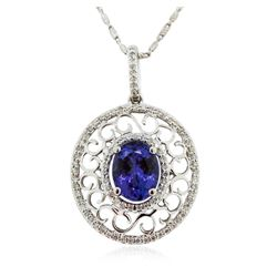 14KT White Gold 2.17 ctw Tanzanite and Diamond Pendant