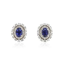14KT White Gold 1.04 ctw Sapphire and Diamond Earrings