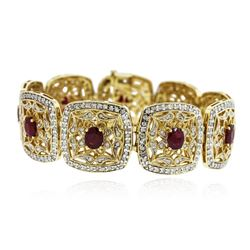 14KT Yellow Gold 10.12 ctw Ruby and Diamond Bracelet