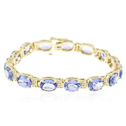 14KT Yellow Gold 34.35 ctw Tanzanite and Diamond Bracelet