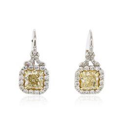 Platinum EGL USA Certified 5.00 ctw Fancy Yellow Diamond Earrings
