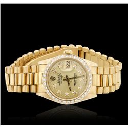 Mid Size Rolex 18KT Yellow Gold DateJust Diamond Wristwatch
