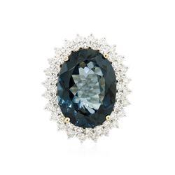 14KT White Gold 19.77 ctw Topaz and Diamond Ring