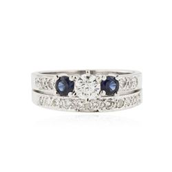 14KT White Gold 0.85 ctw Diamond and Sapphire Wedding Ring Set
