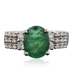 18KT White Gold 3.09 ctw Emerald and Diamond Ring