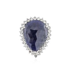 PLATED SILVER 17.54 ctw Blue and White Sapphire Ring