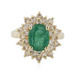 14KT Yellow Gold 1.84 ctw Emerald and Diamond Ring