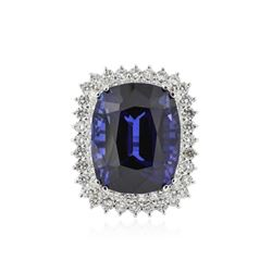 14KT White Gold GIA Certified 29.75 ctw Tanzanite and Diamond Ring