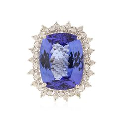 14KT White Gold 15.93 ctw GIA Certified Tanzanite and Diamond Ring
