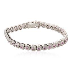 18KT White Gold 2.62 ctw Pink Sapphire and Diamond Bracelet