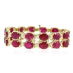 14KT Yellow Gold 41.72 ctw Ruby and Diamond Bracelet