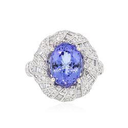 18KT White Gold 4.86 ctw Tanzanite and Diamond Ring