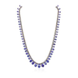 14KT White Gold 44.29 ctw Tanzanite and Diamond Necklace