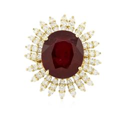 14KT Yellow Gold 10.60 ctw Ruby and Diamond Ring