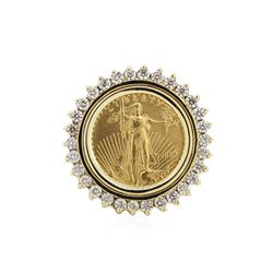 14KT Yellow Gold 0.45 ctw Diamond Coin Ring
