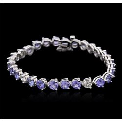 14KT White Gold 13.50 ctw Tanzanite and Diamond Bracelet