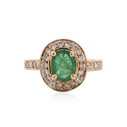 14KT Rose Gold 1.34 ctw Emerald and Diamond Ring
