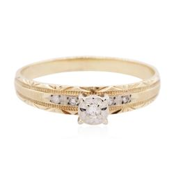 10KT Two-Tone Gold 0.03 ctw Diamond Ring