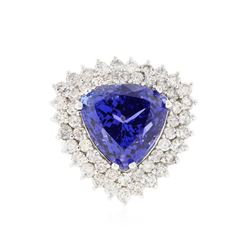 14KT White Gold 12.10 ctw GIA Cert Tanzanite and Diamond Ring