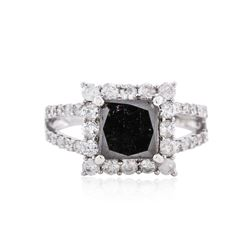 14KT White Gold 3.66 ctw Fancy Black Diamond Ring