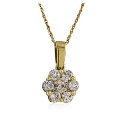 14KT Yellow Gold 0.63 ctw Diamond Pendant With Chain