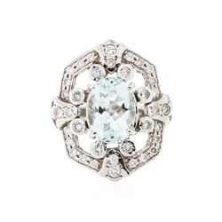 14KT White Gold 4.09 ctw Aquamarine and Diamond Ring