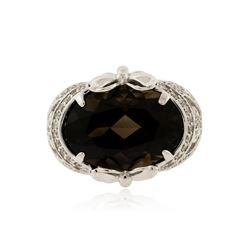 14KT White Gold 10.41 ctw Smokey Topaz and Diamond Ring