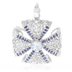 14KT White Gold 1.01 ctw Aquamarine and Sapphire Pendant