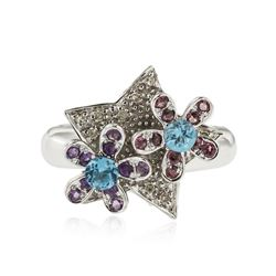 14KT White Gold 0.40 ctw Amethyst, Topaz and Diamond Ring