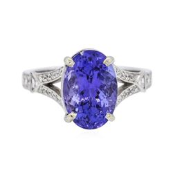 18KT White Gold 4.53 ctw Tanzanite and Diamond Ring