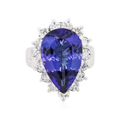 14KT White Gold GIA Certified 8.26 ctw Tanzanite and Diamond Ring