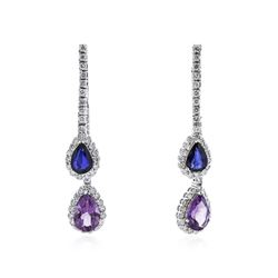 14KT White Gold 2.42 ctw Amethyst, Sapphire and Diamond Earrings