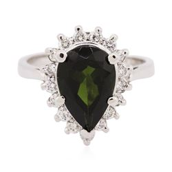 14KT White Gold 3.07 ctw Green Tourmaline and Diamond Ring