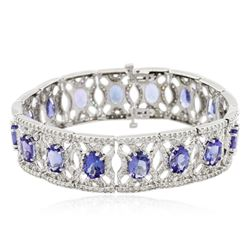 14KT White Gold 21.12 ctw Tanzanite and Diamond Bracelet