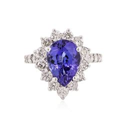 14KT White Gold 3.78 ctw Tanzanite and Diamond Ring