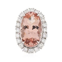 14KT White Gold 14.80 ctw GIA Cert Morganite and Diamond Ring